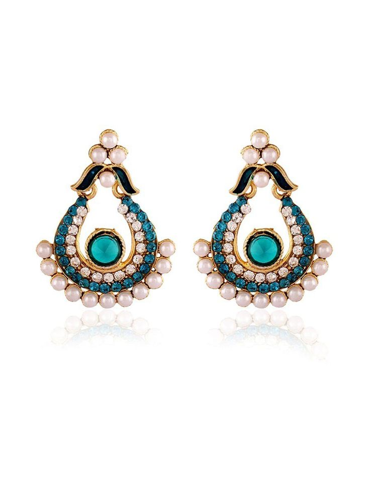 Designer Earrings with pearls, stones, mina work. Item Code: JRUM538 http://www.bharatplaza.com/new-arrivals/jewellery.html