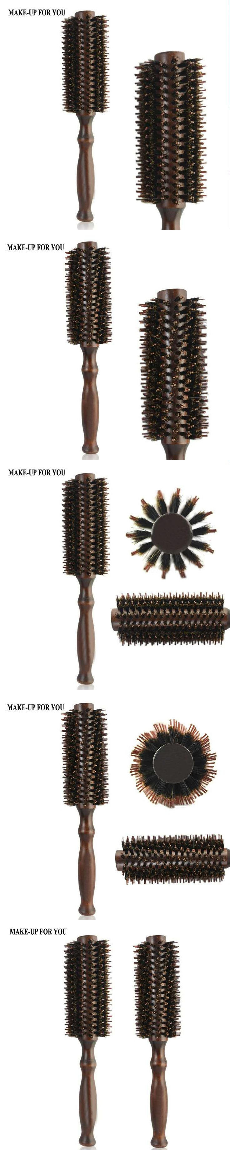 Roll Round Hair Comb Brush Care Tool Wood Handle Natural pure Bristle Curly Hair Brush Fluffy Comb Hairdressing Barber Tools