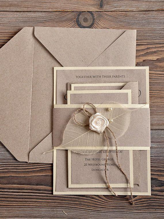 Recycling Eco Wedding Invitation, Country Wedding Invitation,  Rustic Wedding  Invitation, Shabby Chic Invitation , Bellyband Invitation