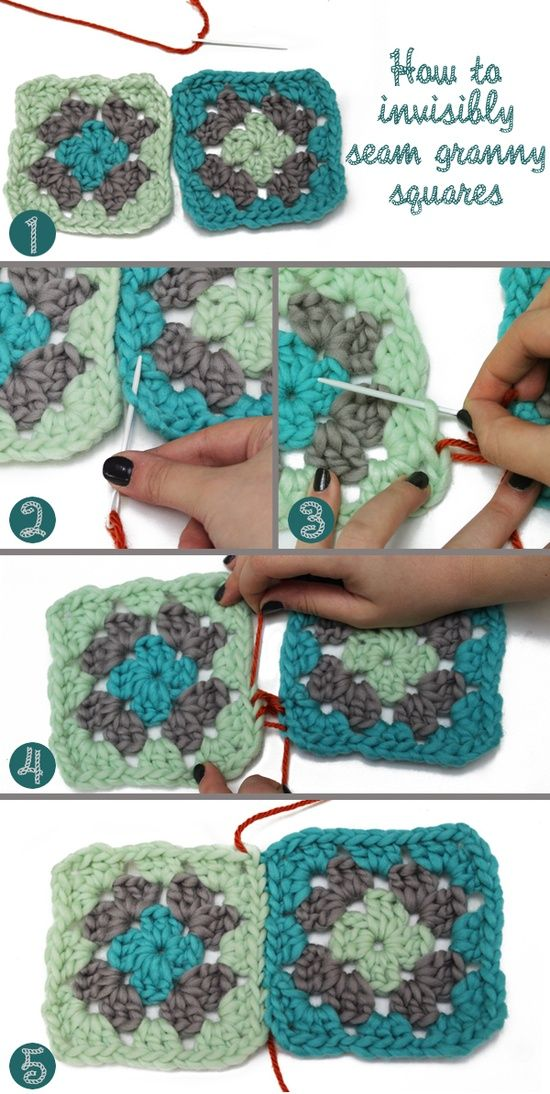 How to invisibly seam granny squares, also love these colors together!