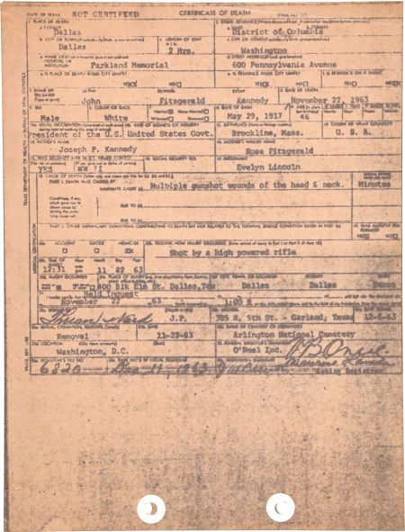 A funeral home death certificate file copy of President Kennedy's death certificate, hurriedly drawn up by the Vernon O'Neal Funeral Home in Dallas.