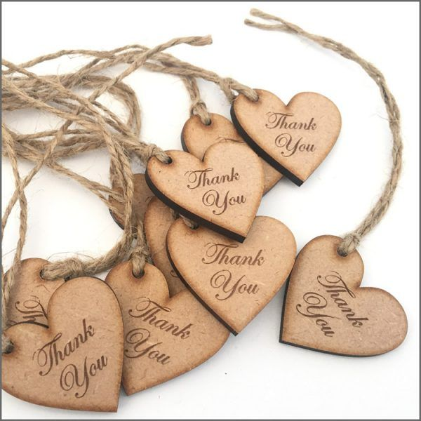 Heart Shaped wooden thank you tags