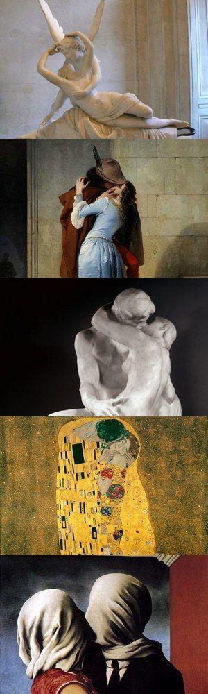 """I cinque baci più famosi in arte/ the five kisses most famous in art.  1) """"Amore e Psiche"""" di Antonio Canova 2) """"Il bacio"""" di Francesco Hayez 3) """"Il bacio"""" di AugusteRodin 4) """"Il bacio"""" di Gustav Klimt 5) """"Gli amanti"""" di René Magritte"""