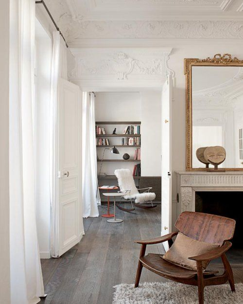 vintage Paris: Wooden Chairs, Paris Apartment, Fun Recipe, Gold Mirror, Floors, Mary Claire, White Rooms, Bright House, White Wall