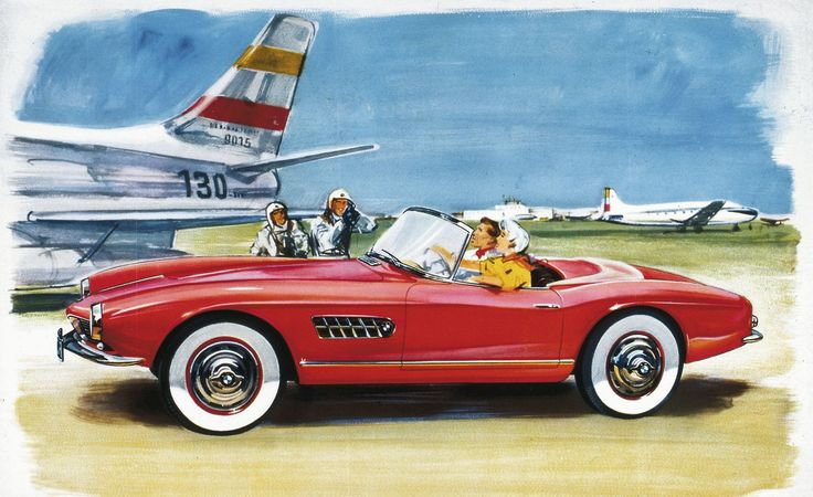 Reclame uit de jaren 50 voor de BMW 507 roadster.