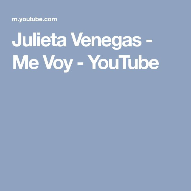Julieta Venegas - Me Voy - YouTube