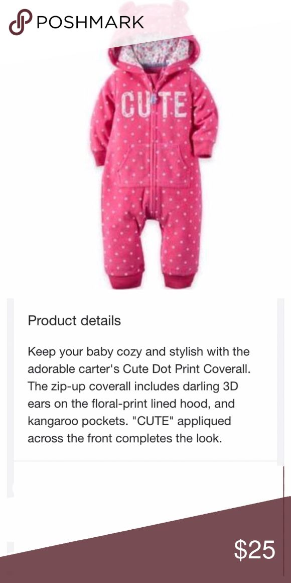 Carter's Warm Fleece Jumpsuit Ears Cute Brand new! Adorable, plush and warm winter jumpsuit. Ships same day if ordered by 10:00 CST. Bundle 3 items and save 15% Carter's One Pieces Bodysuits