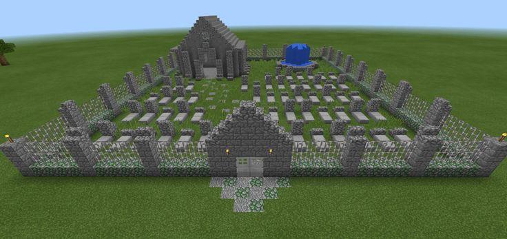Minecraft Graveyard Cemetery Flowers Water Fountain