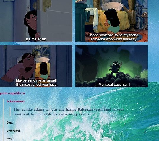 (gif set) Asking for Cas and Getting Balthazar ||| Supernatural + Lilo and…