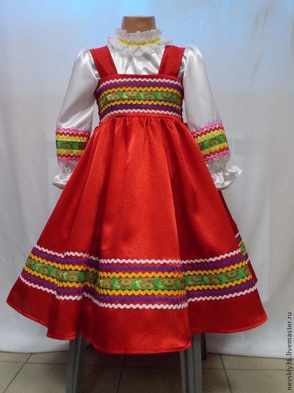 Сарафан для девочки. - ярко-красный,сарафан,сарафан для девочки,танцевальный костюм