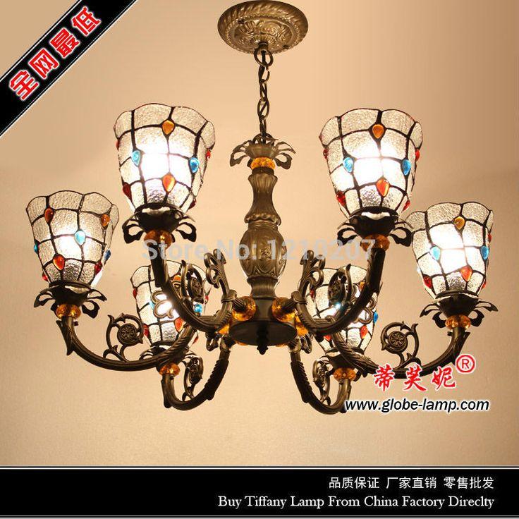 Стиль тиффани люстра лампа с 6 филиалов витражи абажур s023b06h036, W75CM H80CM для обеденной комнаты. фойе. спальня купить на AliExpress