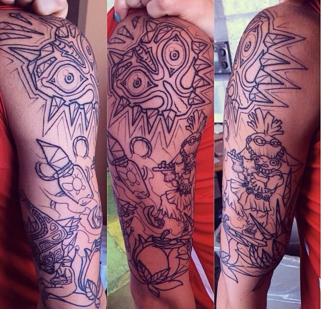 Myy start of a zelda themed half sleeve gamerr tattoo ftw for Ftw tattoo meaning