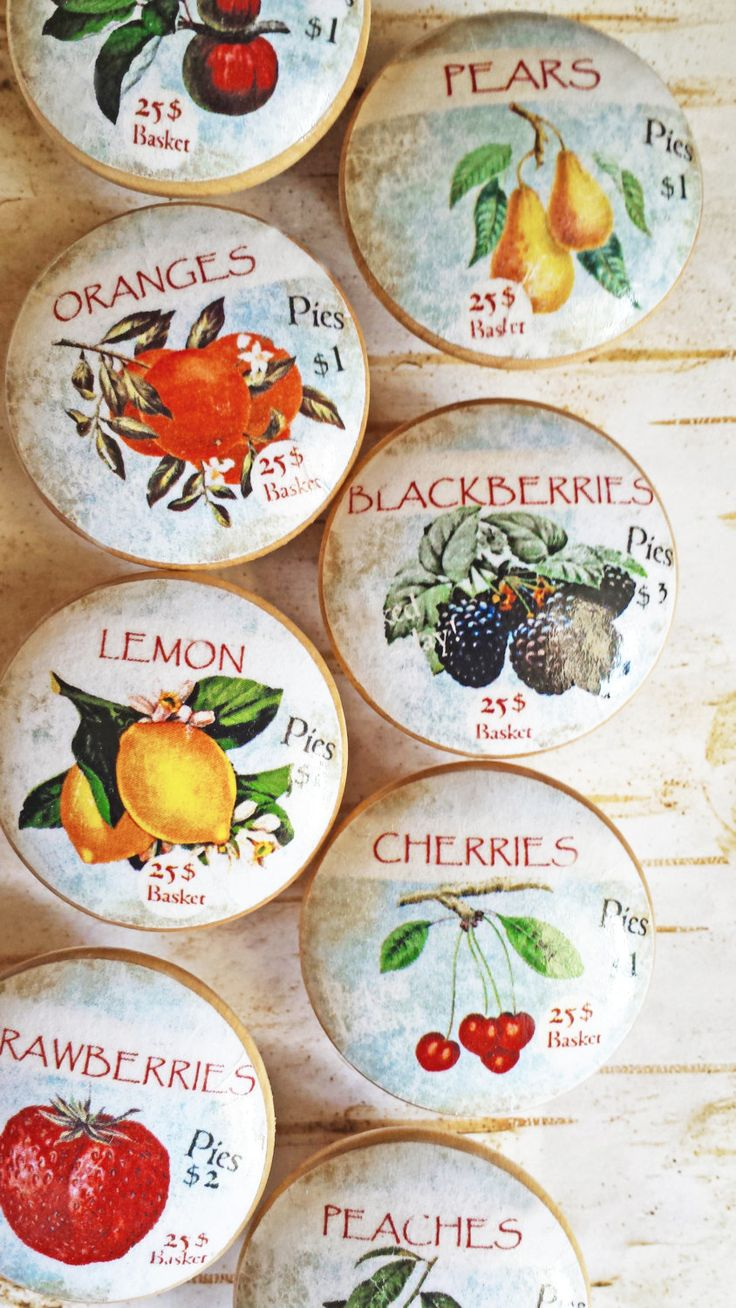 Fruit Orchard Knob Drawer Pulls, 8 Handmade Vintage Labels On Birch Wood,  Retro Style