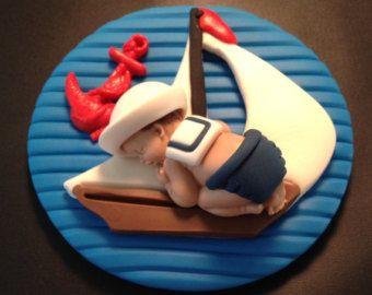 Fondant eetbare baby nautische matroos taart topper
