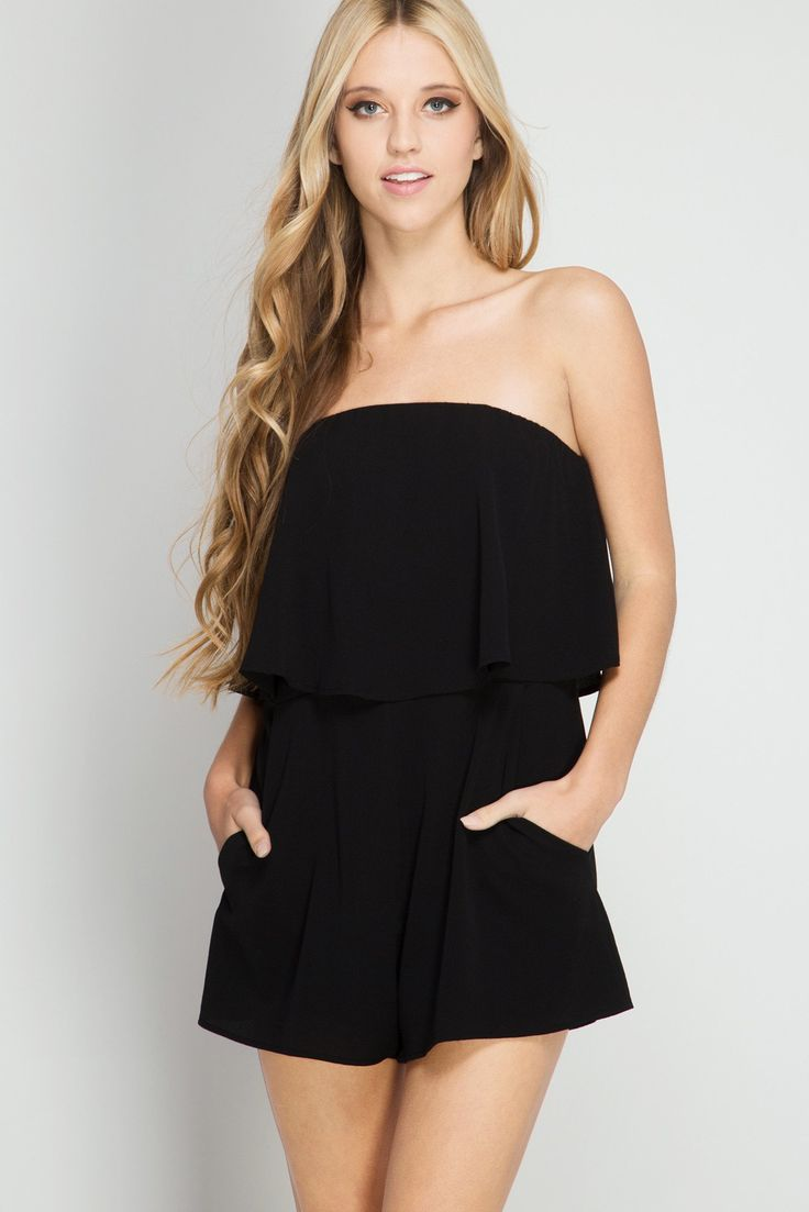 Ruffle Tube Top Romper with Pockets  #perfect #outfit #fashion #fashionpost #holidaygift #outfitoftheday #fashionable #fashiongram #ootd #onlineshopping