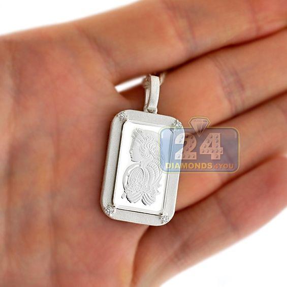 Mens Diamond Pamp Suisse 5 Gram Fine Silver Fortuna Bar Frame Pendant Fine Silver Mens Pendant Plain Gold Pendant