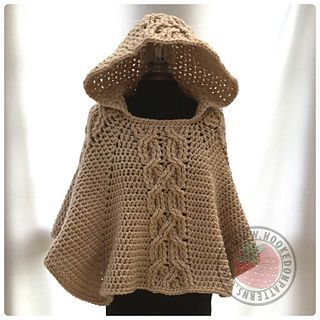 crochet this chunky and warm poncho with decorative twist cable design and cosy hood perfect for chilly days or nights