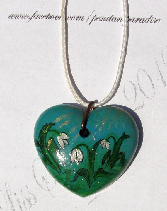 Original Handpainted Art Snowdrop Heart pendant by LissSilverwing, $17.00