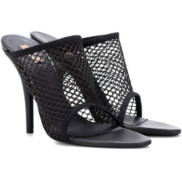 Yeezy Mesh Sandals (SEASON 6) ($620) ❤ liked on Polyvore featuring shoes, sandals, black, high-heel, mesh shoes, kohl shoes, black sandals, mesh material shoes and mesh sandals