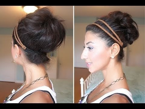 Quick Messy Bun / Up-Do. Love this! Tried it with my curly, medium length hair (so I didnt need to do the brushing or teasing parts) and it worked really well! A nice big bun with lots of waves/texture thanks to my curls :)