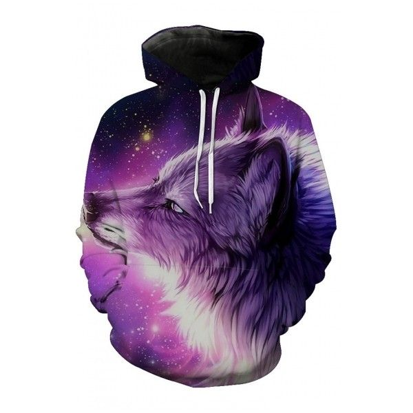 83cd7bb728f9 3D Galaxy Wolf Printed Long Sleeve Unisex Casual Leisure Hoodie ( 34) ❤  liked on Polyvore featuring tops