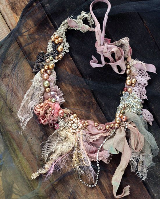 Old palace necklace, delicate  shabby chic embroidered  statement necklace by FleursBoheme on Etsy https://www.etsy.com/nz/listing/465439615/old-palace-necklace-delicate-shabby-chic