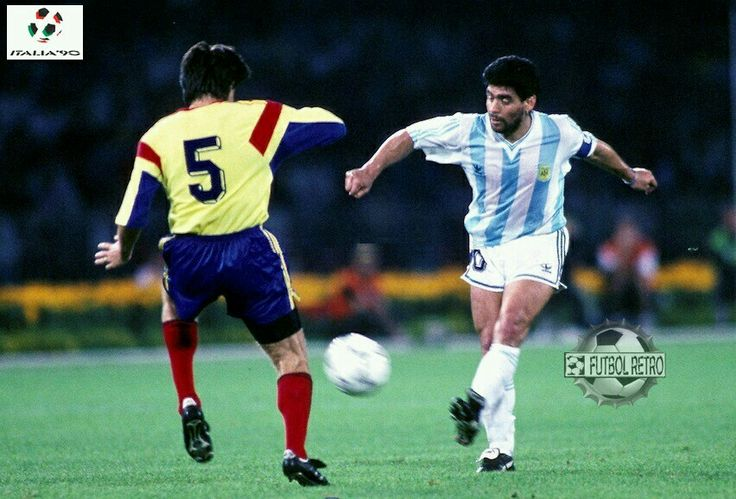 Argentina 1 Romania 1 in 1990 in Naples. Diego Maradona passes inside in Group B #WorldCupFinals
