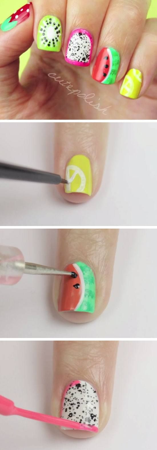 5 Summer Fruit Nail Art Designs | 18 Easy Summer Nails Designs for Summer | Cute Nail Art Ideas for Teens