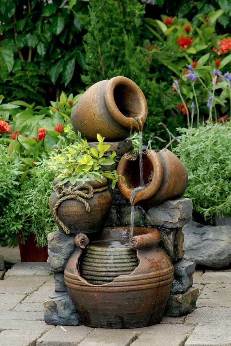 """Jeco Inc - FCL10 - 10.10"""" Multi Pots Outdoor Water Fountain with"""