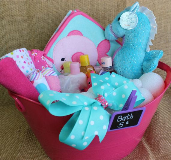 Seahorse  Fishy baby girl gift basket filled with by LilaandRosco