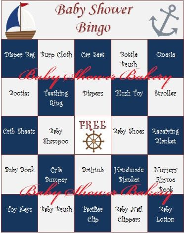 Nautical themed baby shower bingo game - printable set of 40 for guests to play while mom is opening gifts!