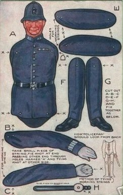 Policeman paper doll. P&P: This shows some good instructions regarding the construction of one of those jumping jack paper puppets.