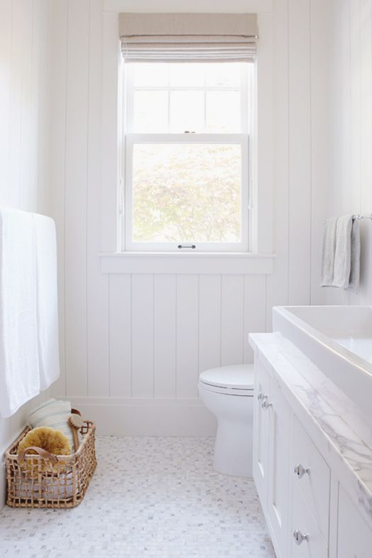 Classic White Bathroom Custom Wood Beadboard Affordable Alternative Is This Wallpaper Version Here Towel