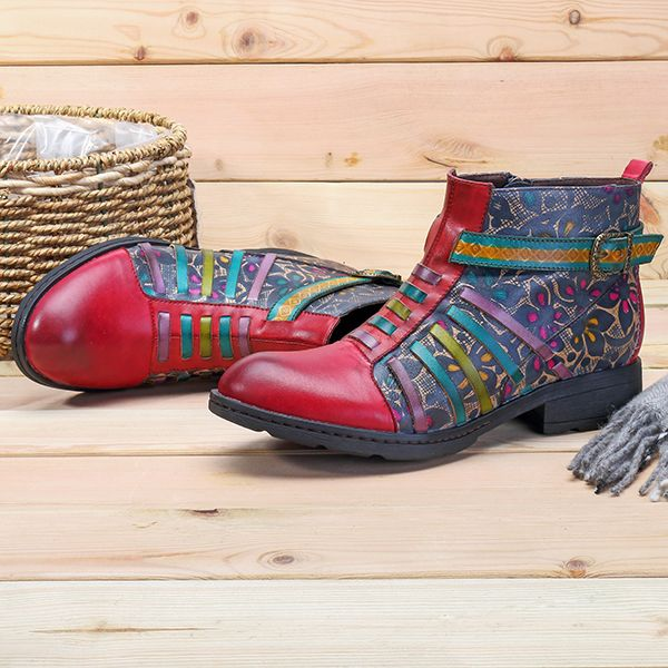 SOCOFY Women Printing Retro Splicing Stripe Pattern Flat Leather Boots