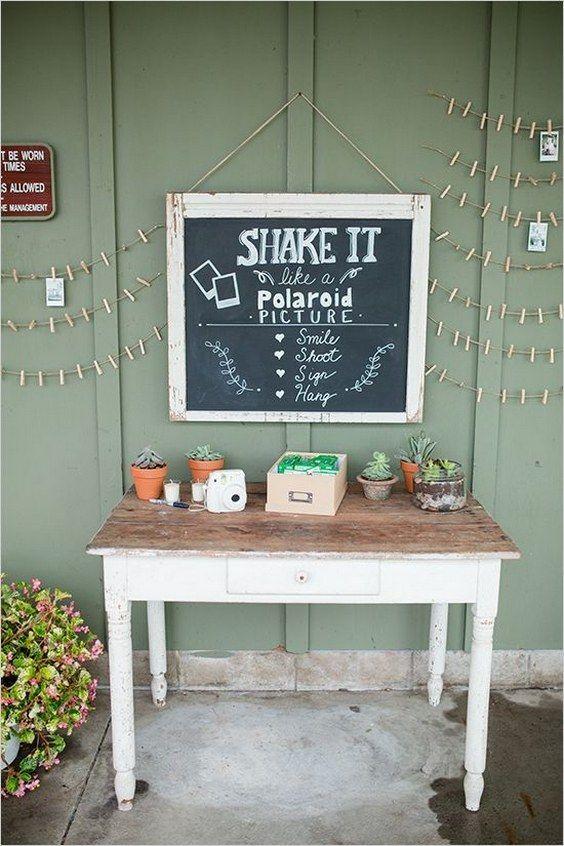polaroid picture guest book idea / http://www.deerpearlflowers.com/creative-polaroid-wedding-ideas/