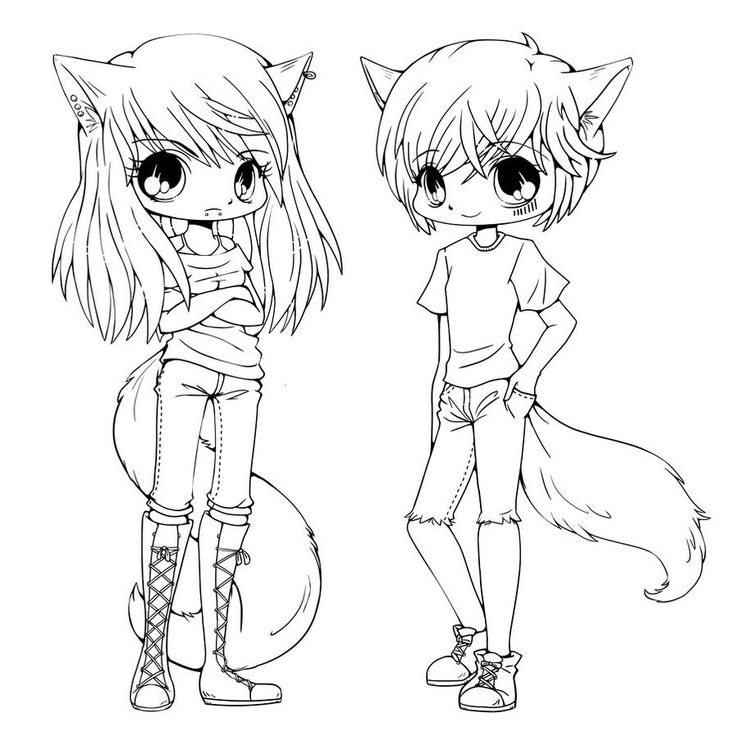 Anime Chibi Couple Coloring Pages to Print Cartoon