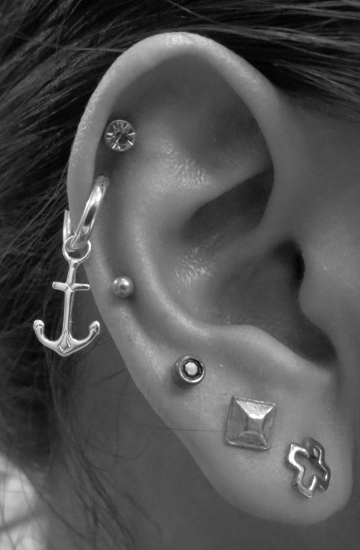 Cool Ear Piercing Ideas at MyBodiArt.com - Anchor Stud Earrings