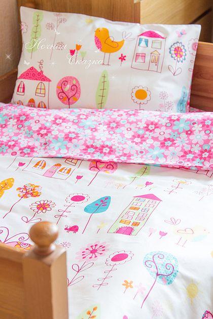 """Комплект в кроватку детское постельное белье """"Dolce Vita"""" - фуксия,белый"""