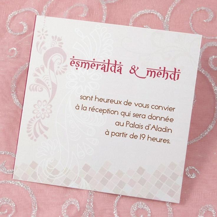 Carte d'invitation mariage Oriental A72L: D Invitation Mariage, Map, Cartons Invitation, Carte D Invitation
