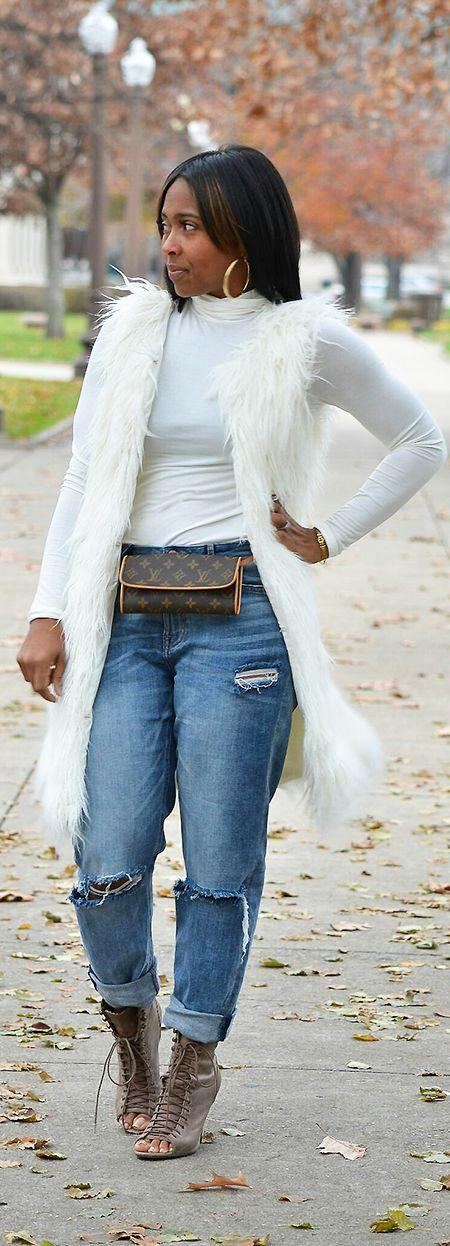 Faux Fur Vest, Boyfriend Jeans, Fall Outfit idea, Turtleneck