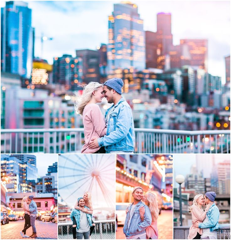 A gorgeous downtown Seattle engagement session in the stormy weather! Gorgeous night time photos, too! Seattle Wedding Photographer