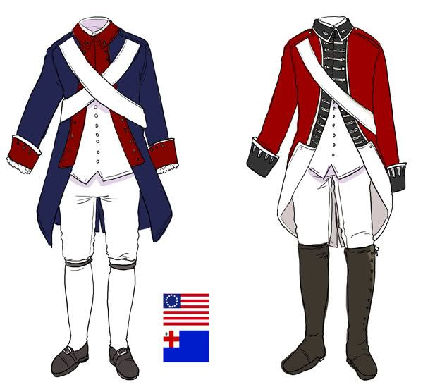American and British uniforms during the Revolutionary War (picture only)