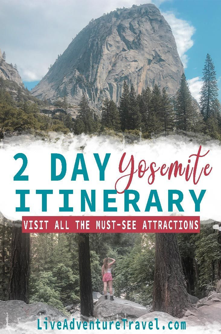 The Ultimate 2 Day Yosemite Itinerary With A Map National Parks Trip Usa Travel Destinations California Travel