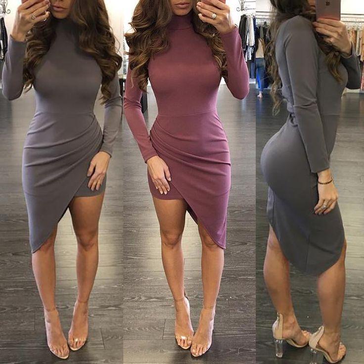 Trendy Plunged Irregular Pleated Bodycon Dress