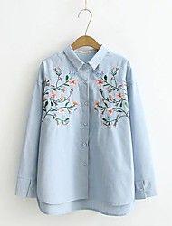 Feminino Camisa Social Para Noite Casual Sensual Simples Moda de Rua Primavera Outono,Sólido Floral Seda Algodão Colarinho de CamisaManga