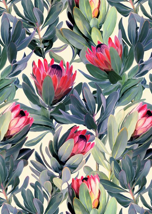 lush green and pink floral pattern
