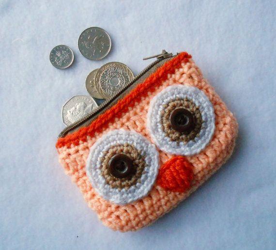 Monedero cartera búho salmon anaranjado tejido por Lacebox en Etsy