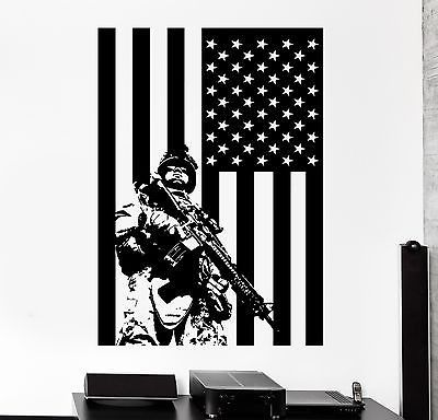 Wall Vinyl US Soldier Marine USA Flag Guaranteed Quality Decal (z3427)