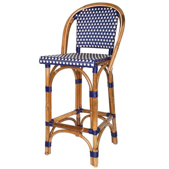 Blue And Cream Mediterranean Bistro Bar Stool With Back 26 H E Bar Stools Bar Stools With Backs Stool