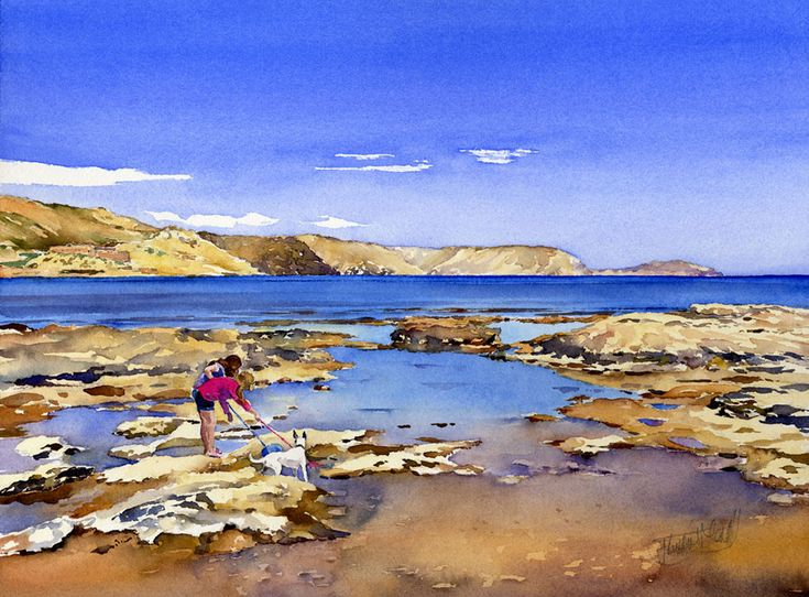 The light and colours this time of year are superbfor painting the coast of the Parque Natural de Cabo de Gata, Almeria, Spain. This watercolour is of the rock pools at the end of El Playazo beach...